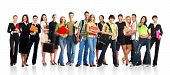 stock photo of young adult  - Big group of the young smiling students - JPG