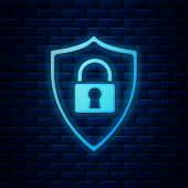 Glowing Neon Shield Security With Lock Icon Isolated On Brick Wall Background. Protection, Safety, P poster