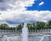 Fountain World War Ii Memorial National Mall Washington Dc.  Memorial Was Dedicated 2004. poster