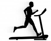 Man Running on a Treadmill. Silhouette of a man running on a modern treadmill with halftone motion t
