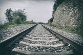 Perspective Of The Railway, Wheel Track Rail, , Vintage Style. Old Railway Track poster