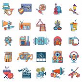Media Recreation Icons Set. Cartoon Set Of 25 Media Recreation Vector Icons For Web Isolated On Whit poster