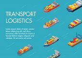 Sea Cargo Logistics Transportation And Trucks Vector Illustration. Ocean And Sea Container Ship With poster