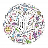 Make Up Doodle Logo In Circle With Lipstick, Cream, Mascara, Powder, Shades, Brush, Handwritten Lett poster