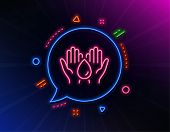 Safe Water Line Icon. Neon Laser Lights. Fluid Sign. Ecology Energy Symbol. Glow Laser Speech Bubble poster