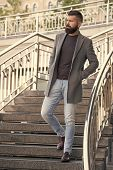 Down The Stairs. Stylish Casual Outfit Spring Season. Menswear And Male Fashion Concept. Man Bearded poster