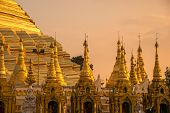 Group Of Small Pagoda Around The Base Of Shwedagon Pagoda The Most Iconic Landmark In Yangon Townshi poster