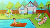 Young People Having Outdoors Rest In Yard. Man Floating On Inflatable Mattress In Swimming Pool Drin poster