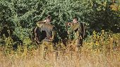 Hunting With Friends. Hunters Friends Enjoy Leisure. Teamwork And Support. Activity For Real Men Con poster