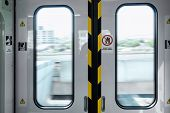 Automatic Metro Skytrain Doorway Inside Vehicle Transport Seat, Electric Security Entrance Door Of P poster