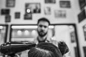 Man Haircut In Barbershop. Black And White Photo. Retro Style. poster