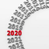 2020 Past In The Circle Represents The New Year 2020, Three-dimensional Rendering, 3d Illustration poster