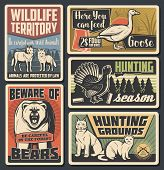 Hunting Open Season, Wild Animals Natural Park And Beware Of Bear Warning Vintage Posters. Vector Wi poster