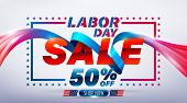Happy Labor Day Sale 50% Off Poster.usa Labor Day Celebration With Blue Ribbon.sale Promotion Advert poster