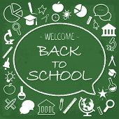 Back School Card Chalk Hand Drawn. Welcome Back To School Chalk Everyone Included Text And Education poster