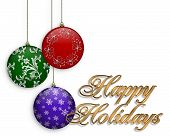 image of happy holidays  - Image and illustration composition Background for Christmas with Ornaments and gold text - JPG