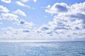 Blue Water And Sunny Sky Background poster