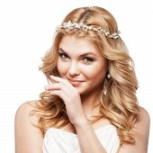 stock photo of tiara  - bride in white dress with beauty wedding coiffure - JPG