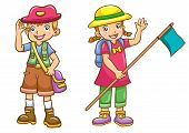 stock photo of boy scout  - cartoon boy - JPG