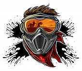 stock photo of paintball  - Paintball player with mask on splatter background - JPG