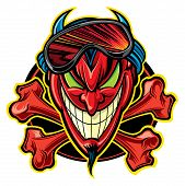 stock photo of lucifer  - Red devil with horns and ski mask - JPG