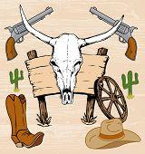 picture of gunslinger  - Western old west cowboy artwork and hand drawn steer skull - JPG