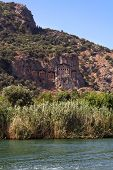 foto of dalyan  - Ancient Dalyan tombs on the rock Turkey - JPG