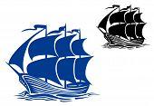 stock photo of brigantine  - Brigantine sail ship for travel or another design - JPG