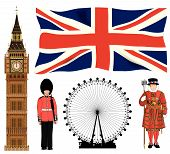 stock photo of beefeater  - A collection of London and England icons - JPG