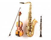 pic of sax  - Music Sax tenor saxophone violin and clarinet in white background - JPG