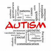 foto of aspergers  - Autism Word Cloud Concept in red caps with great terms such as asperger screening neuro social and more - JPG