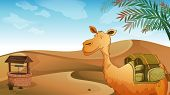 stock photo of sandstorms  - Illustration of a camel with a well at the desert - JPG