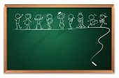 Illustration of a blackboard with a doodle art on a white background poster