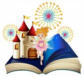 image of storybook  - Illustration of a storybook with a fairy - JPG