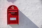 picture of mailbox  - Danish red mailbox near the Hammershus castle ruin Bornholm Denmark - JPG