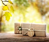 picture of wood craft  - Handcrafted gift boxes on aged wooden boards with an autumn foliage background - JPG