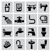 image of plunger  - vector black bathroom icons sey on gray - JPG