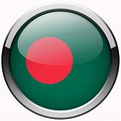 stock photo of bangladesh  - bangladesh flag gel metal button on white backgroung - JPG