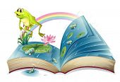 stock photo of storybook  - Illustration of a storybook with a frog and fishes at the pond on a white background - JPG