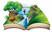 picture of jungle birds  - Illustration of a storybook with an image of the gift of nature on a white background - JPG
