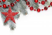 Christmas decoration with fir branch,Christmas star and balls. poster