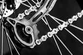 foto of mountain chain  - Closeup of tensioner gear of a mountain bicycle - JPG