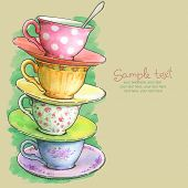 stock photo of recipe card  - card with painted watercolor tea cups - JPG