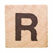 Block with Letter R isolated on white background