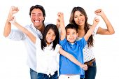 Family with arms up looking very happy - isolated over a white background