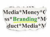Advertising concept: Branding on Paper background poster