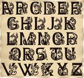 picture of gargoyles  - Gothic alphabet with gargoyls in medieval style - JPG