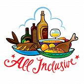 stock photo of all-inclusive  - All inclusive food hotel resort breakfast lunch meal - JPG
