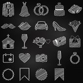 foto of ring-dove  - Vector Chalkboard Doodle Style Collection of Wedding Icons - JPG