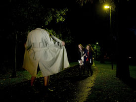 foto of indecent  - Two women laughing at a Flasher at night in the park - JPG